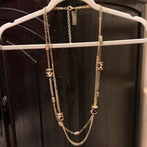 BNWT gold/cheetah print double adjustable necklace